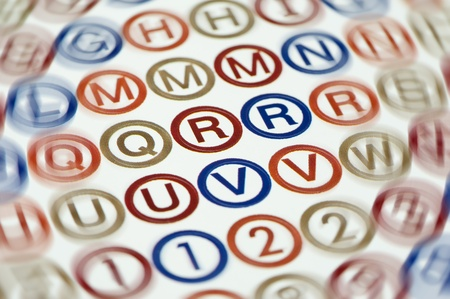 Concept de dyslexie de jumpled lettres et des chiffres sur une page. Banque d'images - 9166863