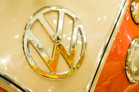 Volksworld Show, Sandown Park, UK - March 26, 2011: Iconic VW badge on the hood of a vintage campervan at the Volksworld motor show, Sandown Park, UK