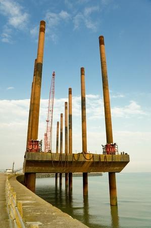 dredging: dredging vessel for removing silt from rivers or harbors Stock Photo