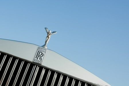 Farnborough, UK - APRIL 22, 2011: Rolls Royce grille and Spirit of Ecstasy mascot on display at the annual Wheels Day auto show, Farnborough, UK. Editorial