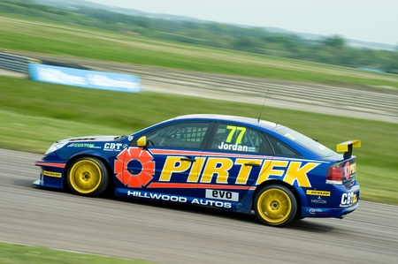btcc: Thruxton, United Kingdom - May 1, 2011: Pirtek Vauxhall Vectra driven by Andrew Jordan at the British Touring Car Championship race meeting in Thruxton, UK. Editorial