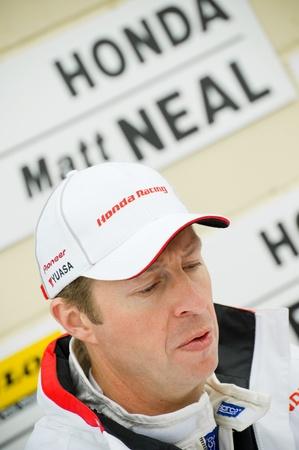 british touring car: Thruxton, United Kingdom - May 1, 2011: Honda Racing driver Matt Neal in the pits during the British Touring Car Championships at Thruxton, UK