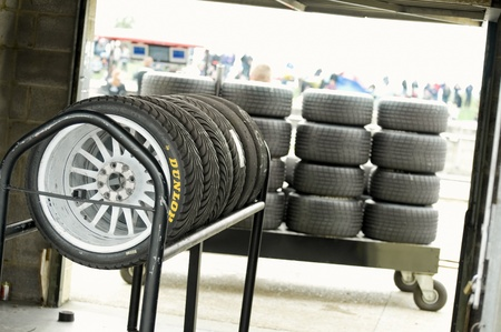 Thruxton, United Kingdom - May 1, 2011: Spare wet weather race tires for cars at British Touring Car Championships, Thruxton UK Stock Photo - 9472281
