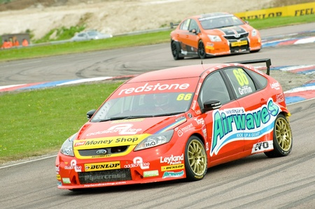 toca: Thruxton, United Kingdom - May 1, 2011: Airwaves Ford Focus driven by Liam Griffin in the British Touring Car Championships on May 1, 2011 in Thruxton, UK.