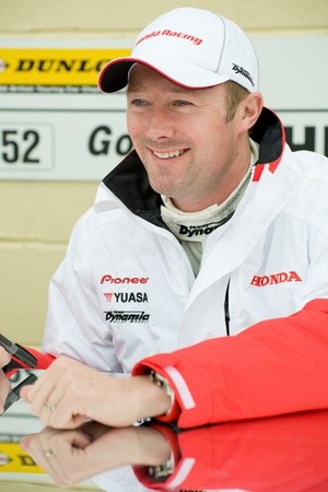 toca: Thruxton, United Kingdom - May 1, 2011: Honda Racing driver Gordon Shedden at the autograph signing session for the British Touring Car Championships on May 1, 2011 in Thruxton, UK.