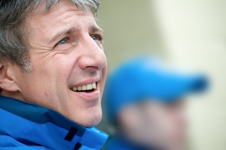 toca: Thruxton, United Kingdom - May 1, 2011: Closeup of Jason Plato, reigning British Touring Car champion driver before racing on May 1, 2011 in Thruxton, UK. Editorial