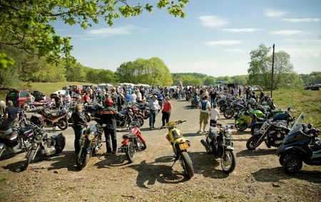 Farnborough, United Kingdom - April 22, 2011: Classic and modern motorcycles on display at the annual Wheels Day Vehicle Festival. Stock Photo - 9601230