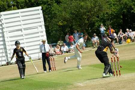 Eversley, UK - 3 June, 2011: Indian cricketer Wasim Jaffer batting for the Lashings World XI at a charity pro-am event in Eversley, UK Stock Photo - 9664610