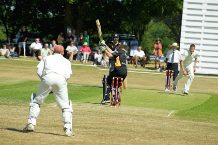 an umpire: Eversley, UK - 3 June, 2011: New Zealand cricketer James Marshall batting for the Lashings World XI at a charity pro-am event in Eversley, UK