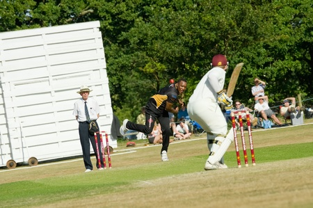 Eversley, UK - 3 June, 2011: England cricket legend Devon Malcolm bowling for the Lashings World XI at a charity pro-am event in Eversley, UK