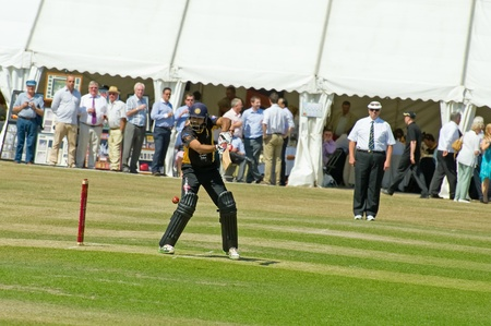 Eversley, UK - 3 June, 2011: Indian cricket legend Wasim Jaffer batting for the Lashings World XI at a charity pro-am event in Eversley, UK  Stock Photo - 9664607