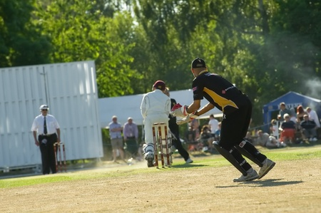 adams: Eversley, UK - 3 June, 2011: Former West Indies cricketer Jimmy Adams keeping wicket for the Lashings World XI at a charity pro-am event in Eversley, UK