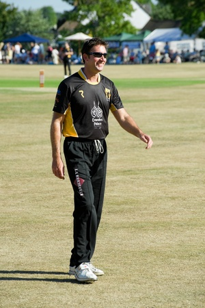 cricketer: Eversley, UK - June 3, 2011: Former England cricketer Ed Giddins attending a Lashings World XI charity pro-am event in Eversley, UK  Editorial