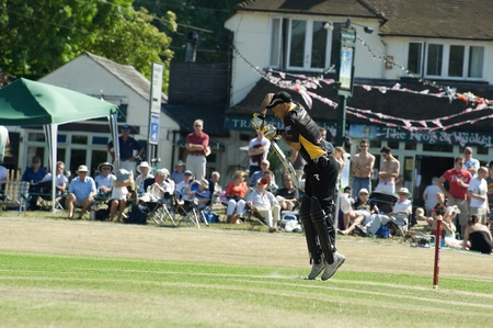 Eversley, UK - June 3, 2011: Former West Indies cricketer Jimmy Adams batting for the Lashings World XI at a charity pro-am event in Eversley, UK Stock Photo - 9671640
