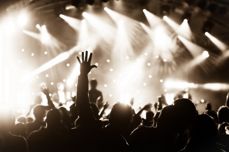 gig: crowd cheering at a live music concert