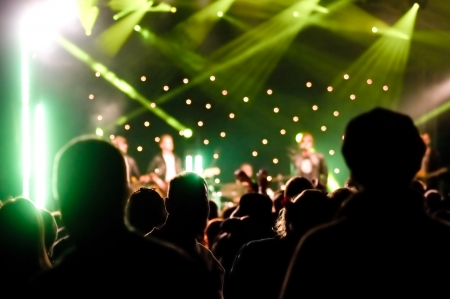 audience silhouettes at a live music concert photo