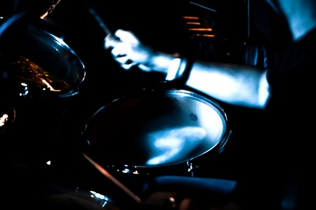 motion blur abstract of a musician the playing drums Stock Photo