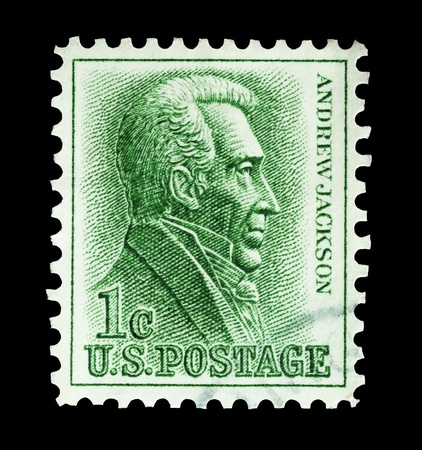 president: Mail stamp printed in the United States featuring former President Andrew Jackson, circa 1963