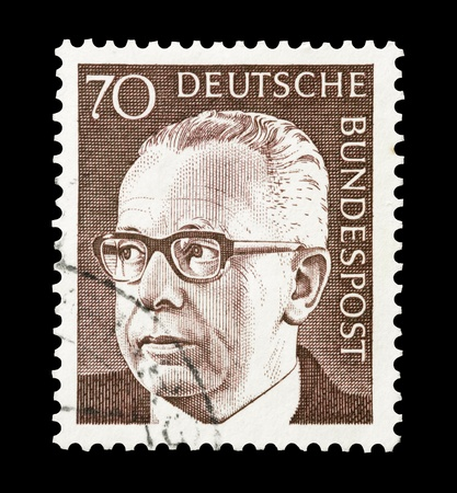 president: Mail stamp printed in Germany featuring former federal president Gustav Heinemann, circa 1970