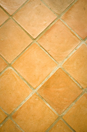 red stone quarry tiled floor detail photo
