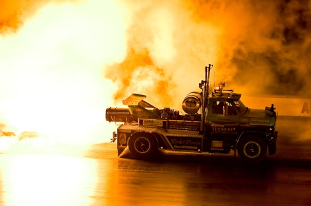 Santa Pod Raceway, UK - Oct 29, 2011: Roaring Thunder jet truck burnout at the Flame and Thunder drag racing event.