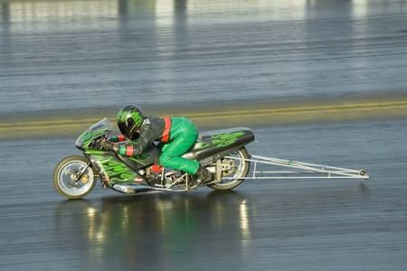 Santa Pod Raceway, UK - Oct 29, 2011: Powerful dragster motorcycle at the Flame and Thunder race event.