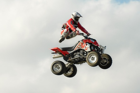 Santa Pod Raceway, UK - Oct 29, 2011: Stunt rider Jason Smyth performing at the Flame and Thunder event.