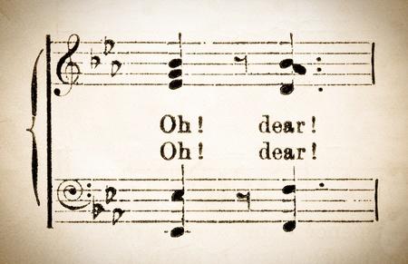 lyrics: vintage musical notation with lyrical phrase