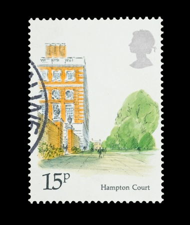 Mail stamp printed in the UK featuring the landmark architecture of Hampton Court Palace, circa 1980 photo