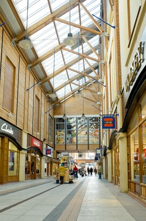 skylight: Portsmouth, UK -  February 1, 2012: Quiet, post-christmas shopping at Gunwharfs Quay retail mall. Editorial