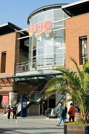 vue: Exterior of the Vue cinema, part of the popular Gunwharf Quays shopping mall and entertainment complex in Portsmouth, UK - Februrary 1, 2012