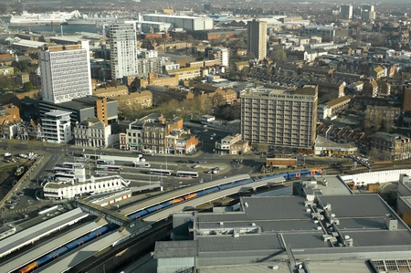 portsmouth: Portsmouth, UK - February 1, 2012: Aerial view over the transport hub and city buildings of Portsmouth UK