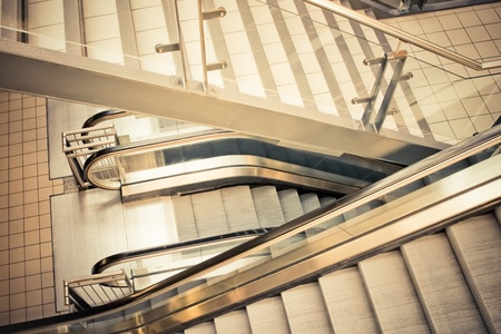 moving down: retro styled escalators and staircase steps