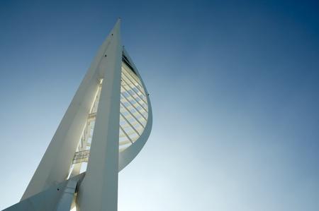 portsmouth: Sunshine behind the 560ft (170m) Spinnaker Tower, Portsmouth, UK