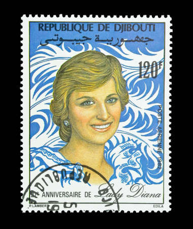 lady diana: Mail stamp printed in the Rep of Djibouti featuring a portrait Lady Diana, Princess Of Wales, circa 1982