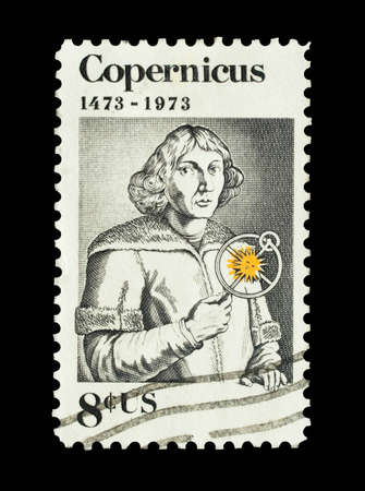 pioneering: Mail stamp printed in the USA featuring pioneering astronomer Nicolaus Copernicus, circa 1973