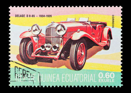 Equatorial Guinea - circa 1974: Commemorative mail stamp printed in Equatorial Guinea featuring a 1934 vintage Delage sports car.