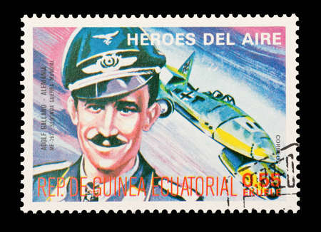 Mail stamp printed in Equatorial Guinea featuring WW2 military fighter ace Adolf Galland, circa 1974