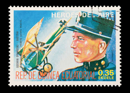 Mail stamp printed in Equatorial Guinea featuring WW1 military fighter ace Godwin von Brumowski, circa 1974 Stock Photo - 12679518
