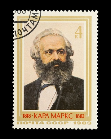 marx: USSR (CCCP) - CIRCA 1983: Mail stamp printed in the USSR (CCCP) featuring a portrait of socialist revolutionary Karl Marx.
