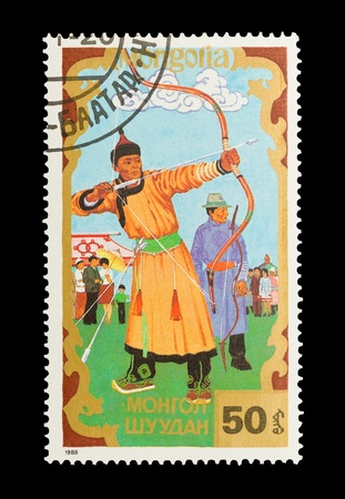 Mongolia - circa 1988: Mail stamp printed in Mongolia featuring archers in traditional cultural dress.