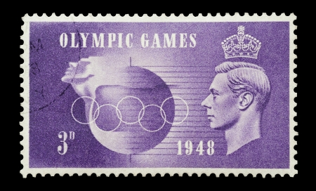vi: United Kingdom - 1948: King George VI commemorative mail stamp printed in the UK on the occasion of the London Olympic Games of 1948