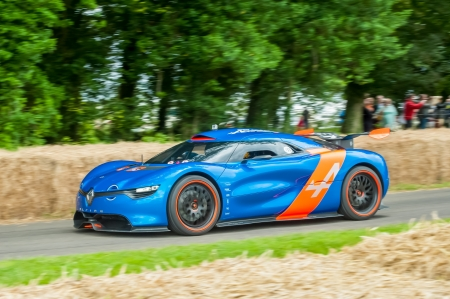 supercar: Goodwood, UK - July 1, 2012: The 395bhp Renault Alpine concept super-car on the hill course at Goodwood, UK