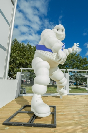 Goodwood, UK - July 1, 2012: Bibendum, more commonly known as the Michelin Man - advertising symbol of the Michelin motor company, on display at Festival Of Speed, Goodwood, UK Editorial