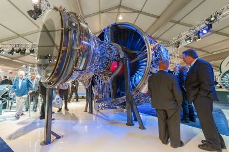Farnborough, UK - July 12, 2012: An exhibition by Rolls-Royce of the Boeing 787 power unit - the Trent 1000 jet engine at the Farnborough Airshow, UK