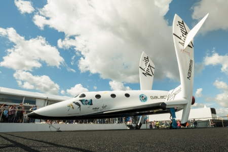Farnborough, UK - July 15, 2012: The futuristic Virgin Galactic reuseable, sub-orbital spacecraft on static display at the Farnborough International Airshow, UK Editorial