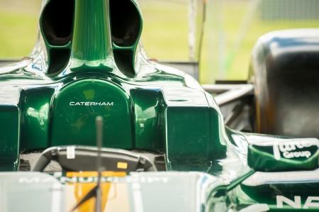 motorsport: Farnborough, UK - July 15, 2012: Closeup of a Caterham Formula 1 race car on static display at the Farnborough Airshow, UK Editorial