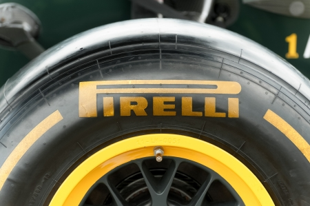 Farnborough, UK - July 15, 2012: Closeup of a Pirelli racing tyre attached to a Caterham Formula 1 car on static display at the Farnborough Airshow, UK