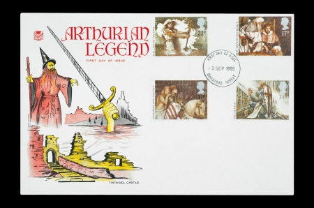 legends: United Kingdom - circa 1985: First day of issue mail stamp featuring characters from the Arthurian Legends.
