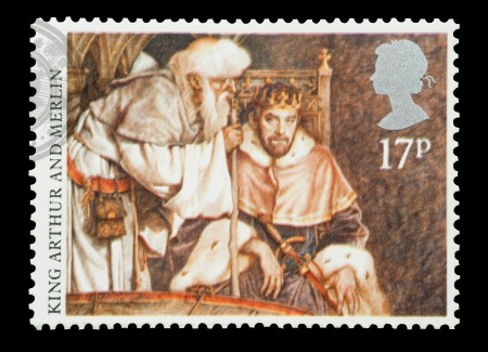 United Kingdom - circa 1985: Mail stamp printed in the UK featuring the Arthurian Legend of King Arthur and Merlin. Stock Photo - 15181399